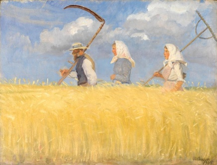 Anna Ancher (1855-1935), The Harvesters, 1905, Oil on canvas, 56,2 x 43,4 cm, Skagens Museum