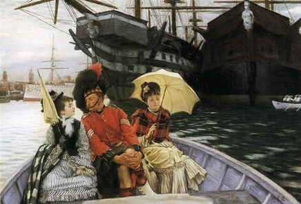 James Tissot (1836-1902), Portsmouth Dockyard, ca. 1877, oil on canvas, 38,1 x 54,6 cm, Tate Britain
