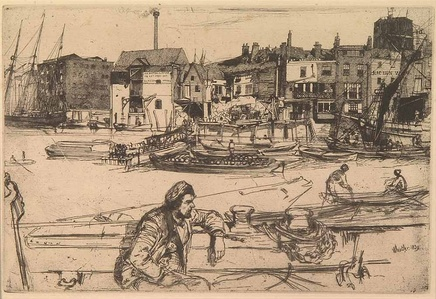 James Abbott McNeill Whistler (1834-1903), Black Lion Wharf, 1859, Etching on paper, Nelson Atkins Museum of Art