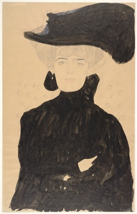Gustav Klimt (1862-1918), Lady with plumed hat, 1908, Ink and graphite on paper, Albertina, Vienna