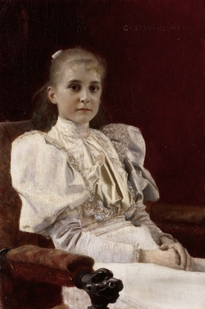 Gustav Klimt (1862-1918), Seated young girl, 1894, Oil on wood, 14 x 9,6 cm, Leopold Museum, Vienna