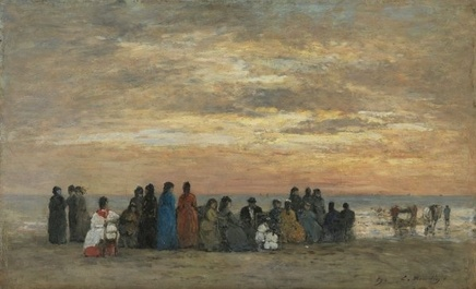 Eugène Boudin (1824-1898), Figures on the beach in Trouville, 1869, Oil on panel, 29 x 47 cm, Museo Thyssen-Bornemisza