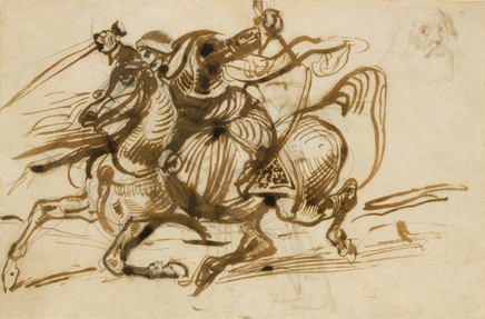 Eugène Delacroix (1798-1863), The Giaour on horsebacck, 1824-26, ink with wash on graphite, 20,1 x 30,5 cm, The MET, Gift from Karen B. Cohen