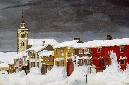 Harald Sohlberg (1869-1935), Street in Røros in winter,1903, oil on canvas, 60,5 x 90,5 cm, National Gallery, Oslo