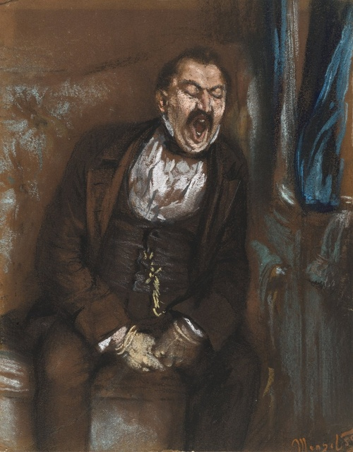 Adolf Menzel (1815-1905), Gentleman in train compartment, 1859, crayon on paper, SMB Berlin